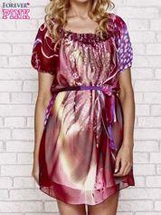 Patchworkowa sukienka mgiełka z paskiem i aplikacją