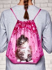 Plecak typu worek z nadrukiem kota