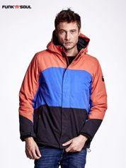 Pomarańczowa kurtka męska z kolorowymi modułami FUNK N SOUL