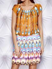 Pomarańczowa wzorzysta sukienka z obniżonym stanem