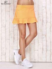 Pomarańczowe spodenki spódniczka tenisowa z falbanką