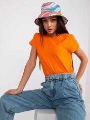 Pomarańczowy neonowy t-shirt damski