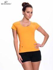 Pomarańczowy t-shirt sportowy z kieszonką na suwak