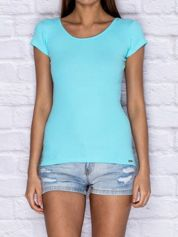 Prążkowany t-shirt lace up turkusowy