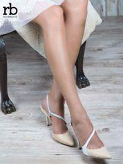ROCCOBAROCCO Beżowo białe sandałki z asymetrycznym zapięciem