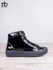 ROCCOBAROCCO czarne welurowe sneakersy  z lakierowanymi wstawkami