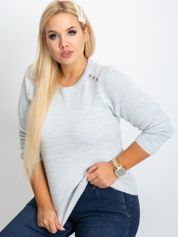 RUE PARIS Jasnoszary sweter plus size Queen