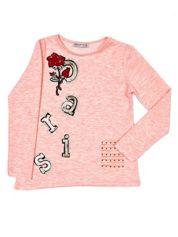 Różowa bluzka dziewczęca z naszywkami