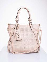 Różowa dziurkowana torba shopper z portfelem