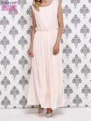Różowa grecka sukienka maxi z koronką z tyłu