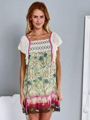 Różowa sukienka letnia mgiełka w kwiaty