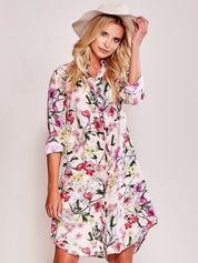 Różowa sukienka szmizjerka w kwiaty