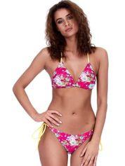 Różowo-żółty kostium kąpielowy wiązany z kwiatowym wzorem