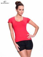 Różowy damski t-shirt sportowy z dekoltem U