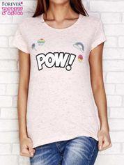 Różowy t-shirt z napisem POW