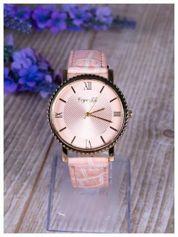 Różowy zegarek damski na skórzanym lakierowanym pasku