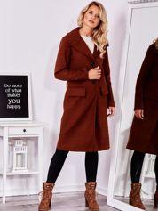 SCANDEZZA Brązowy elegancki płaszcz