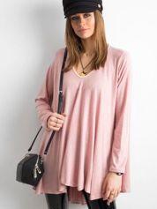 SCANDEZZA Różowy asymetryczny sweter