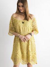 SCANDEZZA Żółta koronkowa sukienka hiszpanka