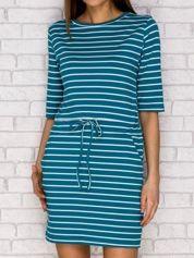 Sukienka w paski z wiązaniem morska