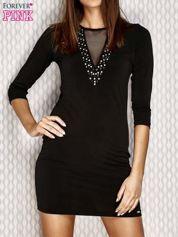 Sukienka z aplikacją i siatkowymi wstawkami czarna
