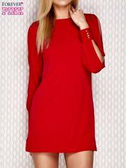 Sukienka z rozcięciami na rękawach czerwona