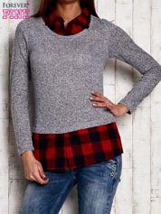 Sweter z koszulą w kratę jasnoszary