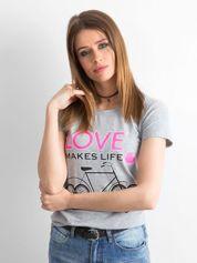 Szara koszulka damska z nadrukami