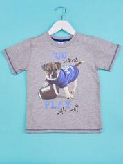 Szary t-shirt chłopięcy z nadrukiem szczeniaczka