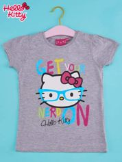 Szary t-shirt dla dziewczynki HELLO KITTY z napisem GET YOUR NERD ON