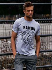 Szary t-shirt męski z napisem RAMOS i nadrukiem
