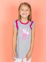 Szary t-shirt z falbankami na rękawach dla dziewczynki ŚWINKA PEPPA
