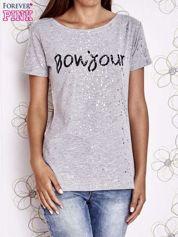 Szary t-shirt z napisem BONJOUR