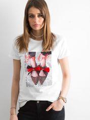 T-shirt damski z naszywką biały