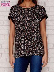 T-shirt w drobne kwiaty czarny