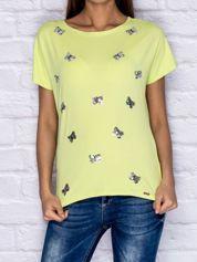 T-shirt z cekinowymi motylami limonkowy