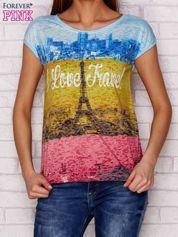 T-shirt z miejskim nadrukiem i napisem I LOVE TRAVEL wielokolorowy