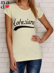 T-shirt z napisem ŁOBUZIARA żółty