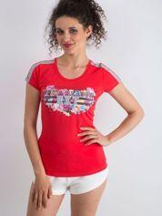 T-shirt z napisem VARIETY OF LOVE koralowy