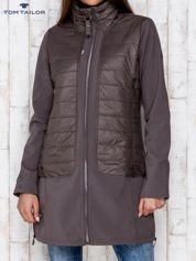 TOM TAILOR Brązowy płaszcz z pikowanymi wstawkami