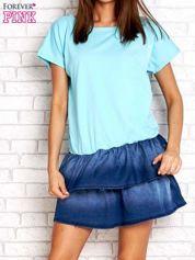 Turkusowa sukienka dresowa z jeansowym dołem