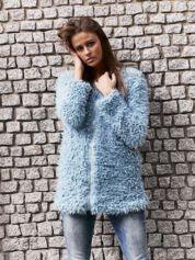 Turkusowy futrzany sweter kurtka na suwak