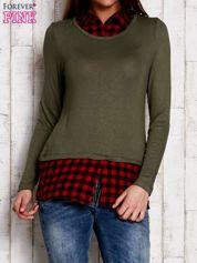 Warstwowy sweter z koszulą w kratę zielony