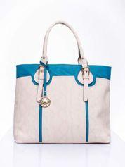 Wężowa torba shopper z niebieską wstawką
