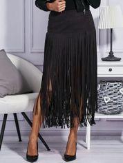 Zamszowa midi spódnica boho z frędzlami czarna