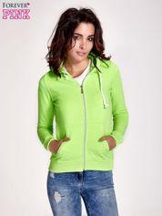 Zielona gładka bluza z kapturem