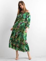 Zielona sukienka z hiszpańskim dekoltem