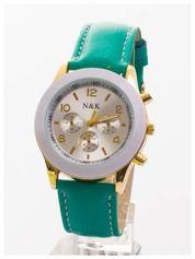 Zielony damski zegarek z ozdobnym tachometrem
