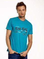 Zielony t-shirt męski z wyścigowym napisem ROAD RACE
