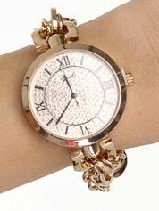 Złoty zegarek damski na bransolecie z dużą cyrkoniową tarczą
